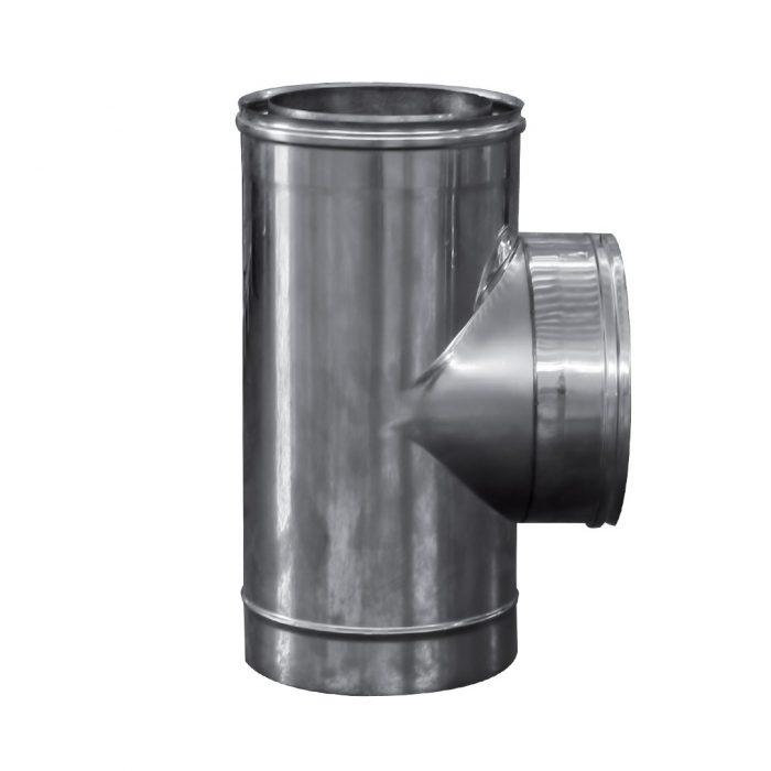 107 Raccordo a T 90 doppia parete in acciaio inox 1
