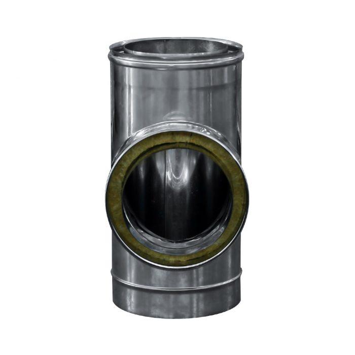 107 Raccordo a T 90 doppia parete in acciaio inox 2