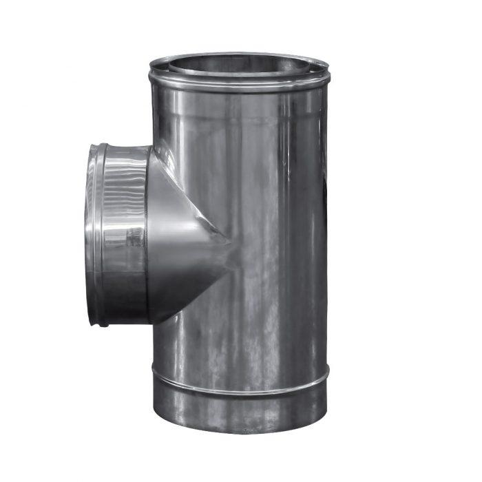 107 Raccordo a T 90 doppia parete in acciaio inox 3