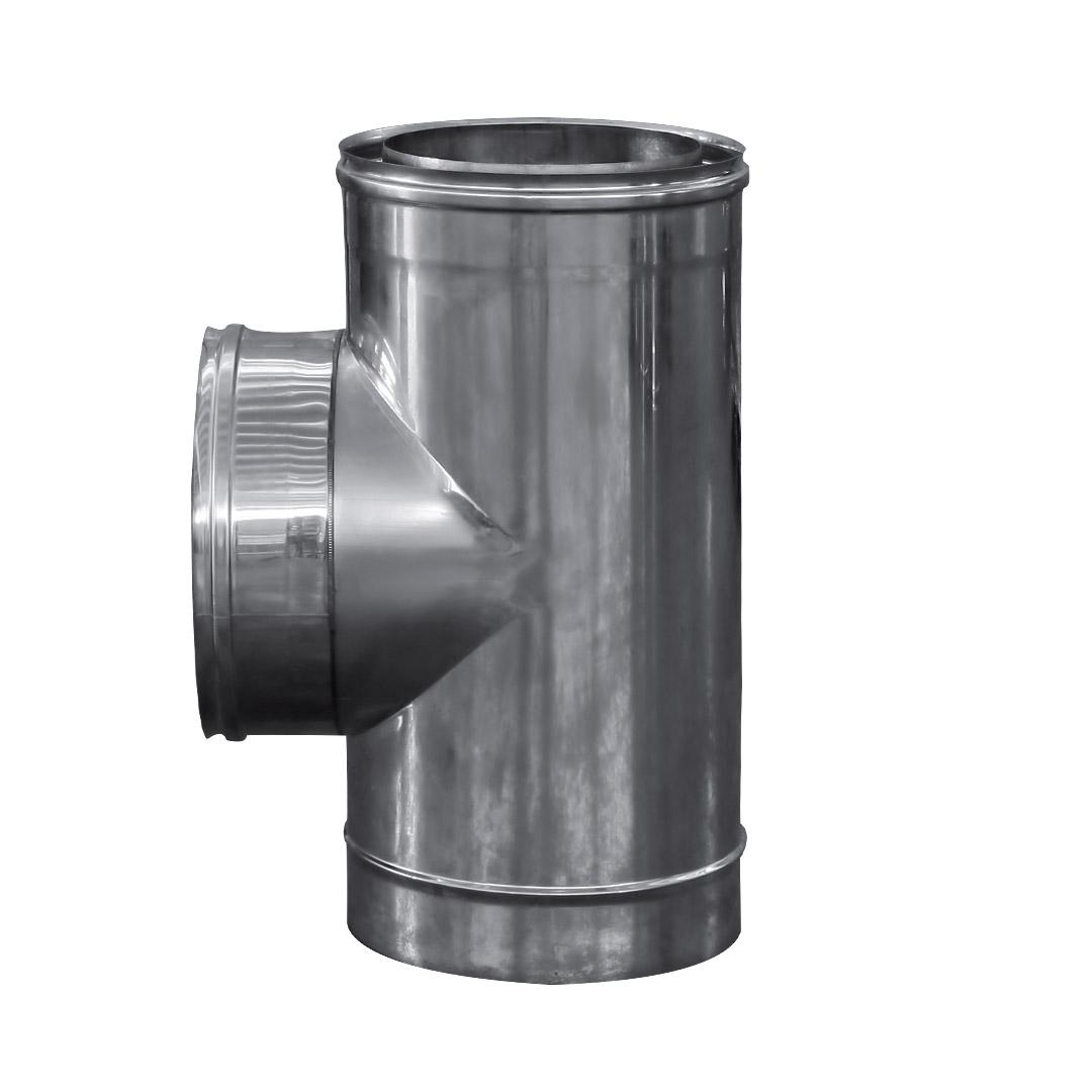 art 107 raccordo a t 90 doppia parete in acciaio inox