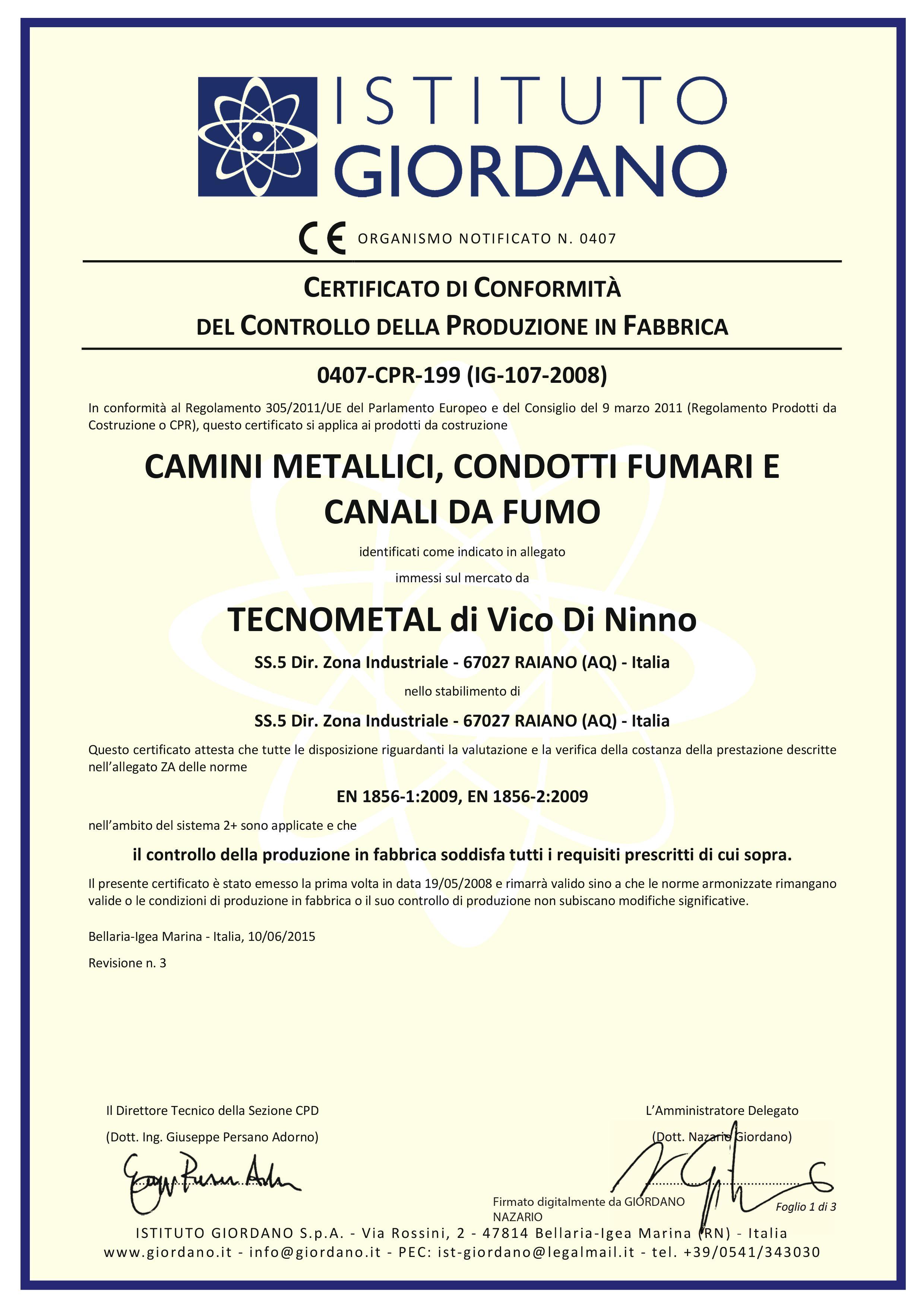 certificato tecnometal camini metallici