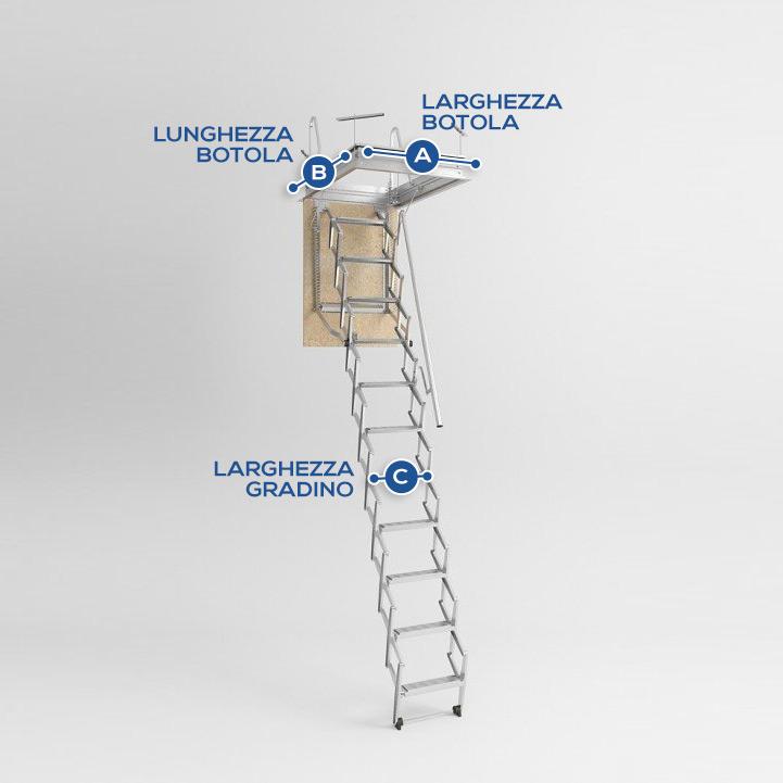 Art 255 scala retrattile per soffitta h300 for Scala per soffitta
